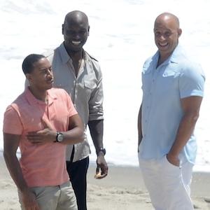 Vin Diesel, Tyreese Gibson & Ludacris Film 'Fast & Furious 7' On Malibu Beach