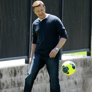 Sean Bean Kicks Around A Soccer Ball On 'Legends' Set