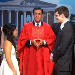 'Colbert Report' Stages Wedding Ceremony For Couple Whose Wedding Was Canceled Due To Shutdown