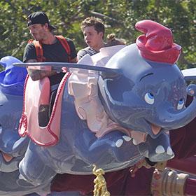 David Beckham And Brooklyn Beckham Ride The Elephants At Disneyland