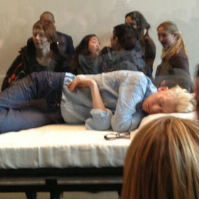 Tilda Swinton Sleeps On Display At The MoMA